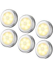 مصباح بمستشعر للحركة، ضوء ليلي لاسلكي بإضاءة ليد يعمل بالبطارية، يمكن لصقه في أي مكان على الخزانة والسلالم وهو آمن للممرات والحمام وغرفة النوم والمطبخ (لون دافئ - عبوة من 6)
