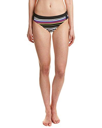 JAG Women's Reactive Stripe Banded Waistband Bikini Bottom, Island Coral, XS