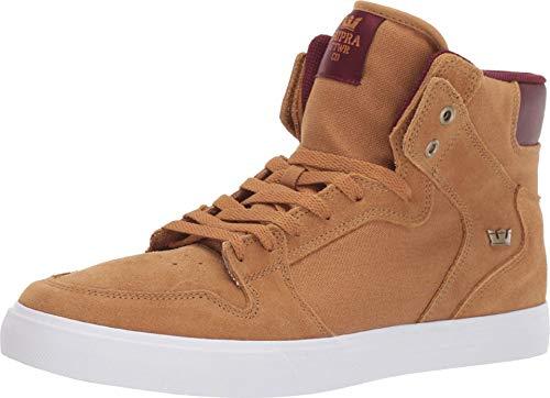 Supra Men's Skateboarding Shoes, Brown Tan Wine White M 258, 8.5 us