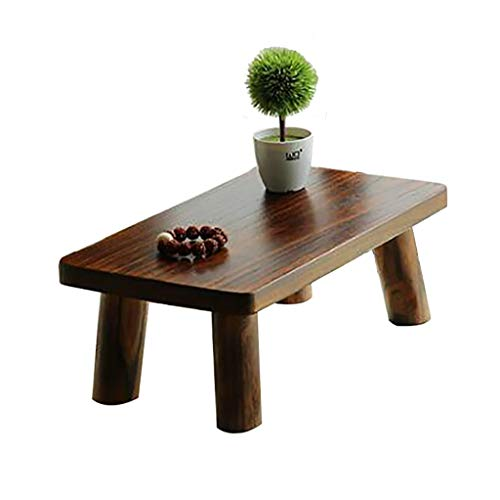 ZWJLIZI Low Table, Japanese Style Simple Bay Window Table, Square Carbonized Color Solid Wood Kang Table/Small Tea Table/Leisure Table (Size : 60X35X22CM)