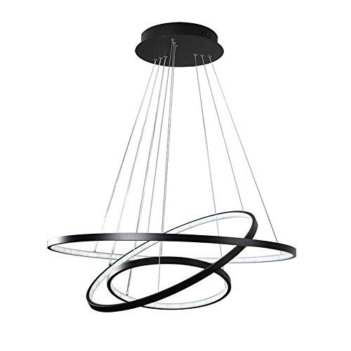 Variateur Télécommande LED Moderne Acrylique Suspension Luminaire de Salle à manger Lampe suspendu Luminaires d'intérieur Géométrie Design Plafonnier de Bureau D60cm Noir, variateur (variateur)