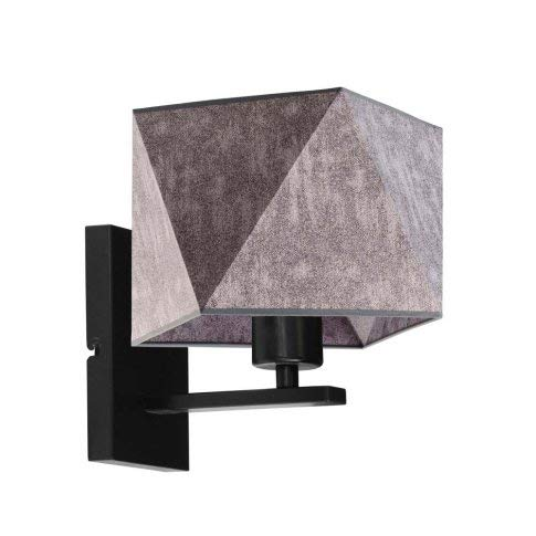 Dalllas - Lámpara de pared con pantalla de lámpara, color gris, marco negro