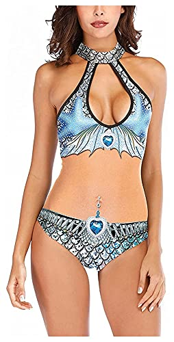 Traje de baño de Escamas de pez Sexy para Mujer, Paquete de 2, protección Solar, Traje de baño con Protector de erupción, Traje de Surf (Color : Blue, Size : L)