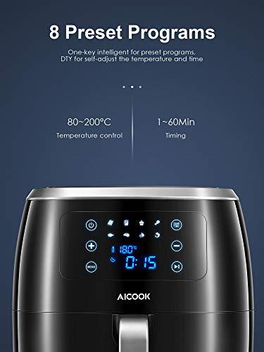Friggitrice ad Aria Calda, 6L 1800W Tecnologia Turbo Aicook Friggitrice Senza Olio, Professionale 8 Funzioni Preimpostate e 40+ Ricettario, Senza BPA e PFOA