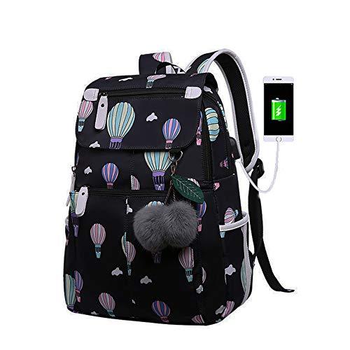 DXJ Mochila escolar para meninas, preta, mochila de ombro com porta de carregamento USB, bolsa de livros de ensino médio e ensino médio, estampa de balão para laptop de 46 cm, grande