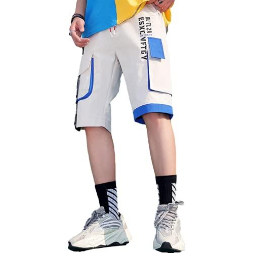 Pantalones cortos de carga a juego con costuras de color para hombre, moda informal, ropa de calle con múltiples bolsillos, tendencia, estampado al aire libre, pantalones cortos deportivos de 3XL