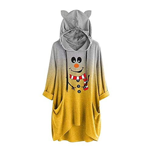 Hoodies for Women 2021 New Long Sleeve Tie-Dye Cute Christmas Snowman Pattern Printed Pullover with Pocket Blouses Tunic Yellow