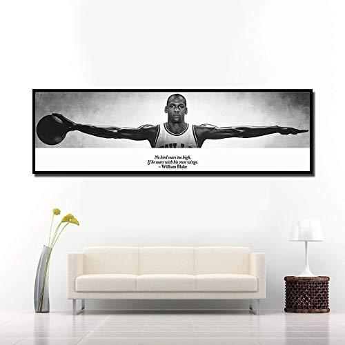BailongXiao Arte de la Pared Lienzo Imagen Sala de Estar cabecera decoración del hogar Deportes Estrella de Baloncesto Cartel,Pintura sin Marco,75x250cm