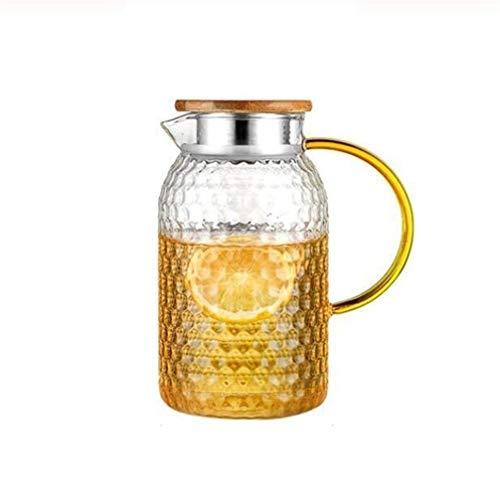 Karaffe Glasteetopf Kalter Kessel Glaskrug Wasserflasche Schnee Punkt Hammer Hohe Temperaturbeständigkeit heizbar 1L 1.5L 1.8L 2L 2.5L wasserkrug (Color : Army Green)