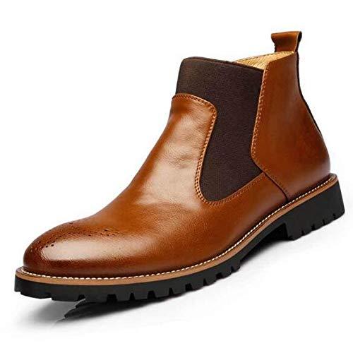 FHCGMX grote maat herfst winter mannen Martin laarzen slip-on puntige schoen Chelsea laarzen van echt leer ademende enkellaarzen voor mannen