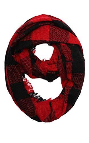 CCFW Buffalo Plaid Woven Tartan Checker Block Infinity Scarf (8628 Red)