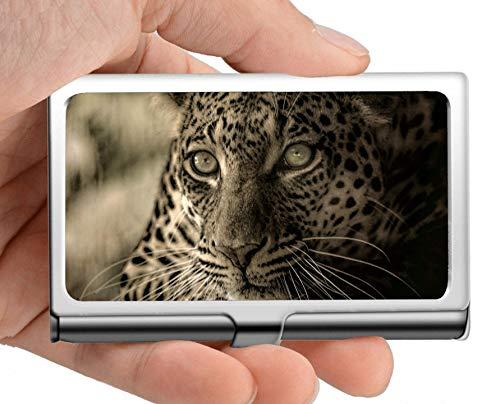 Cartera con el nombre de la empresa, estuche para tarjetas de titular de la tarjeta de acero inoxidable Predator en peligro de extinción, leopardo, excelente diseño para hombres y mujeres