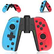 Wireless JoyPad for Switch, PowerLead Replacement for Joycon Controllers Compatible with Nintendo Switch/Switch Lite L/R Remote with Grip Connector, One key Wake up, Turbo, Dual Vibration Function