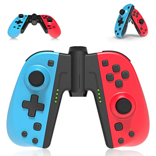 Controller Wireless per Nintendo Switch, PowerLead Joystick Joypad Gamepad per Nintendo Switch, set di 2 pezzi di ricambio per Switch controller con Turbo Macro e funzione Wake-up, giroscopio a 6 assi