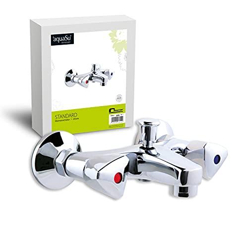 'aquaSu® Zweigriffmischer Standard für Wanne | Chrom | Wasserhahn | Badewannenarmatur