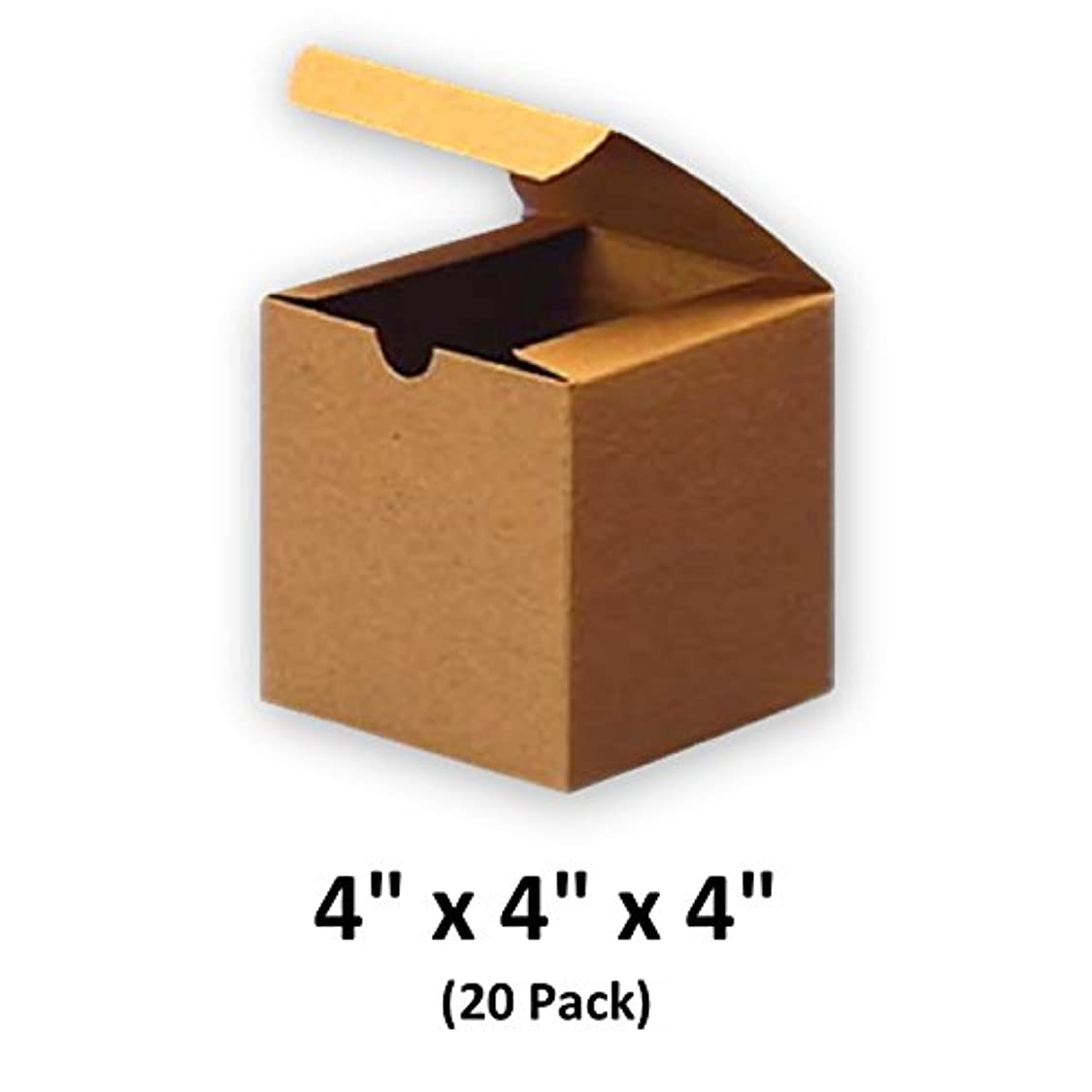 Brown Cardboard Kraft Tuck Top Gift Boxes with Lids, 4x4x4 (20 Pack) for Gifts, Crafting & Cupcakes   MagicWater Supply ei79249450606457