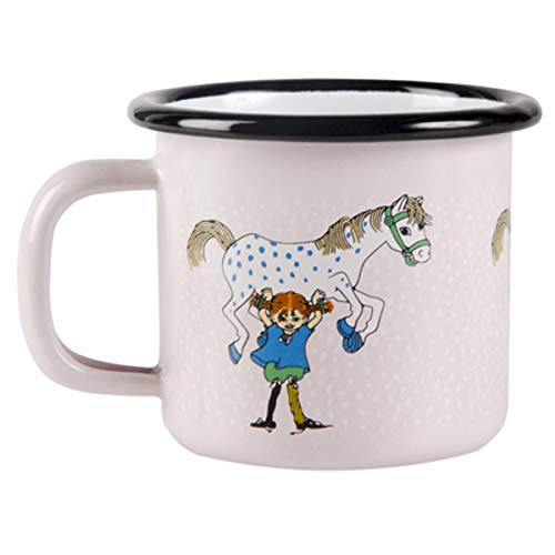 Muurla - Pippi Langstrumpf - Kaffeebecher, Becher, Henkelbecher - Emaille - Pippi and The Horse - 150 ml
