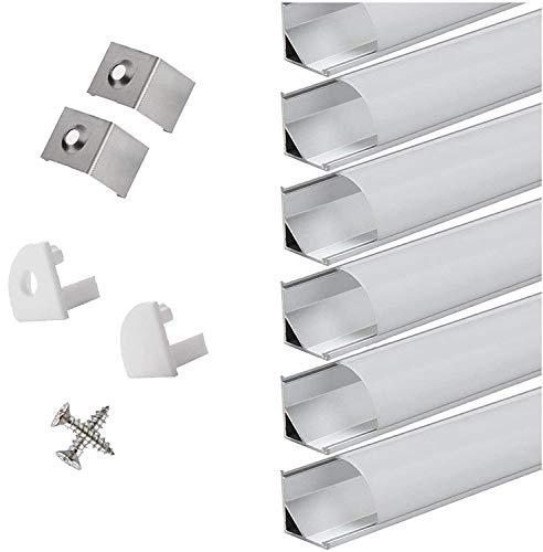 Perfil de esquina led de aluminio de 45 grados, para tiras/barras led blanca con cubierta lechosa blanca, tapas de extremos y pinza de montaje