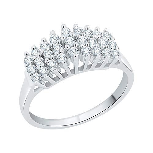 KATARINA Anillo de aniversario de diamantes engastados en plata de ley (1/2 quilates, J-K, SI2-I1), piedra preciosa de metal, diamante,