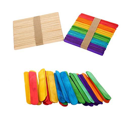 Palitos para Manualidades: hechos de madera natural, sin rebabas, sin blanqueadores ni aditivos, seguros de usar El paquete Icluye: El paquete incluye: paquete de 50 palos de madera de colores 114m * 10mm * 2mm + 50 Pack de palos artesanales de mader...