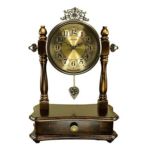 NBVCX Decoración de Muebles Reloj de Escritorio con péndulo y cajón Reloj de Madera Retro Reloj de repisa Silencio Escritorio con Pilas Decoración Regalo Relojes de Mesa para el hogar (Color: Latón)