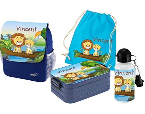 Mein Zwergenland | Personalisiertes Kindergartenrucksack-Set | Happy Knirps Next Print | Kinderrucksack, Lunchbox Maxi, Trinkflasche, Turnbeutel mit Name | Blau | Löwen