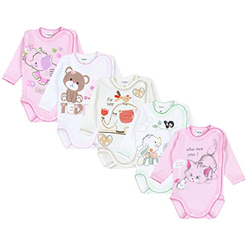 TupTam Unisex Baby Wickelbody mit Aufdruck 5er Set, Farbe: Mädchen, Größe: 74