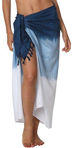 INGEAR Swimwear Long Batik Sarong Multi Wear Pareo Canga Swimsuit Wrap Cover Up (One Size, Navy Fade)
