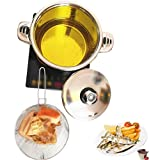 6QT Deep Fryer Set Stainless Steel Deep Fry Basket & 3-Ply Deep Frying