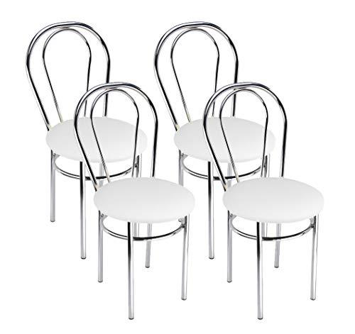 Silla de Comedor de Cuero Sintético de Diseño Moderno, Set de 4 Sillas de Comedor con Patas de Metal - Tulipan Cromo - Color: Blanco - Set of 4