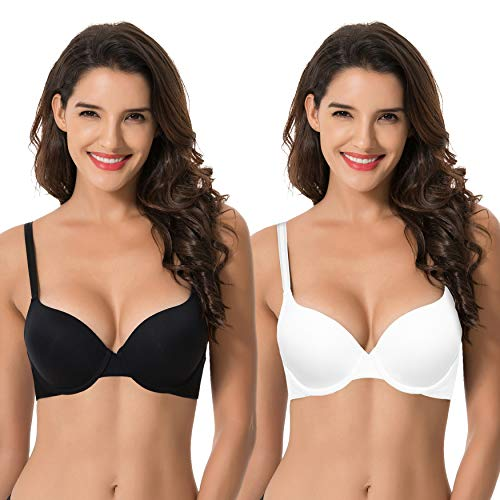 Curve Muse Women's Light Lift Add 1 Cup Push Up Underwire Convertible Tshirt Bra-2PK-BLACK,WHITE-34DDD-V2