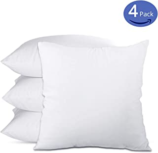 "Emolli 18 x 18 Pillow Inserts (Set of 4), Throw Pillow Inserts Premium Stuffer Down Alternative,Super Soft Microfiber Filled Decorative Pillow Cushion(18"" x 18""- 4 Pack,White)"