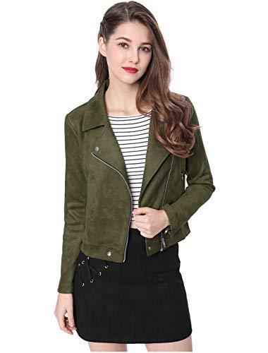 Allegra K Women's Short Jacket Soft Moto Zip Up Pockets Faux Suede Biker Jackets Olive Green 8