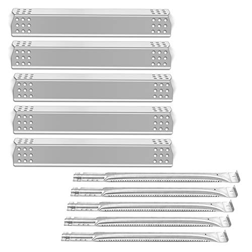 Gas Burners Tube Heat Plate Shield Stainless Steel Grill Replacement Parts for Jenn-Air 720-0709 720-0709B 720-0727, Kitchen Aid 720-0709C SBE6415-SPG4515, 5 Pack (Flavorizer Bar & Burner Pipe) UPG45A