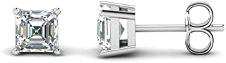 4mm-8mm Asscher Cut Clear D/VVS1 Diamond Solitaire Stud Earrings In 14K White Gold Plated 925 Sterling Silver