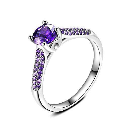 Skyllc Anillo púrpura de la manera con el anillo simulado del compromiso de la boda del halo del diamante para nupcial