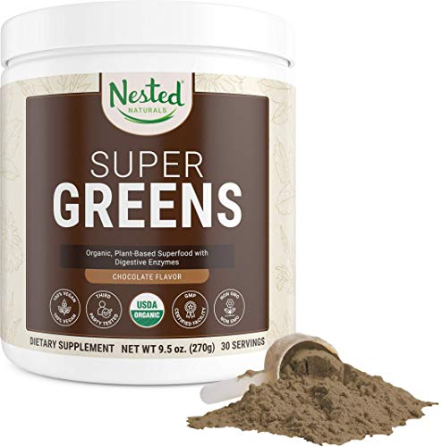 Nested Natural – Super Greens Chocolate Vegetable Superfood Powder 100% USD Organic Non-GMO Vegan Supplement Meal Replacement Booster | Wheat Grass Spirulina Chlorella Probiotics Enzymes Smoothie Mix