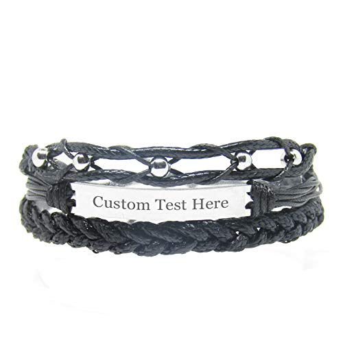 Miiras Customize Engraved Handmade Bracelet - Black 2 - Made of Embroidery Floss and Stainless Steel - Gift for Women, Mothers, Daughters, Aunts, Grandmothers, Sisters.