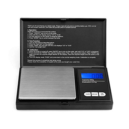 Ascher 200 gram Portable Digital Pocket Scale with Back-lit LCD Display 200x0.01 gram Black