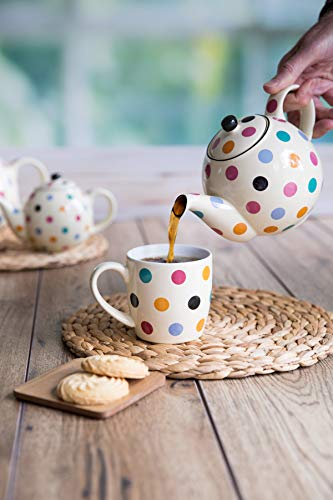 London Pottery Farmhouse Polka Dot Teapot with Infuser, Ceramic, Ivory/Multicolour Polka Dots, 4 Cups (1.2 Litre)