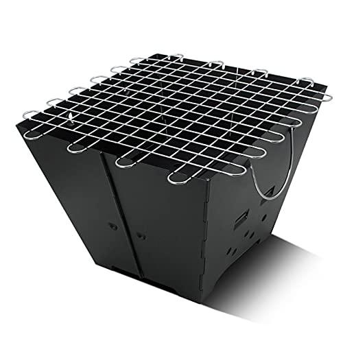 barbecue a carbonella, barbecue portatile, bbq carbonella, Portable BBQ Grill Barbecue in acciaio inox pieghevole affumicatore, di forma quadrata