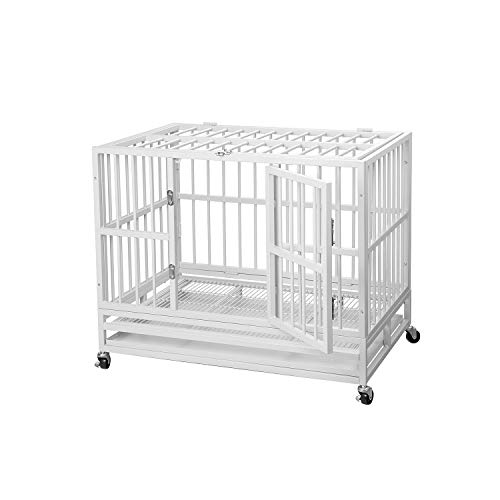 PUPZO Heavy Duty Dog Cage Crate Kennel Carbon Steel with Four Wheels for Large Dogs Easy to Install (36 INCH White)