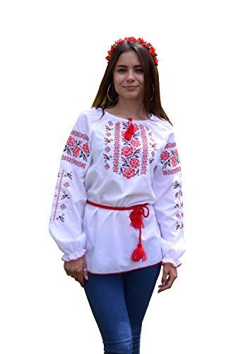 Gestickte ukrainische Folkbluse aus natürlicher Baumwolle, traditioneller Ethno-Stil Gr. XS, weiß