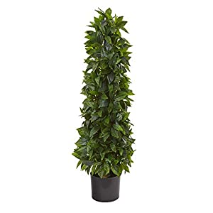 Silk Flower Arrangements Nearly Natural 3ft. Sweet Bay Cone Topiary Artificial Silk Trees, Green