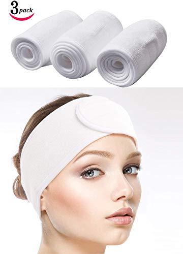 Bandeau Cheveux Serre-tête Bandeau de Maquillage En Coton Pour Yoga/Sport/Se Maquiller/Soins du Visage 3 Pièces 60 x 8,5 cm / 23,6 x 3,35 pouces (Blanc)