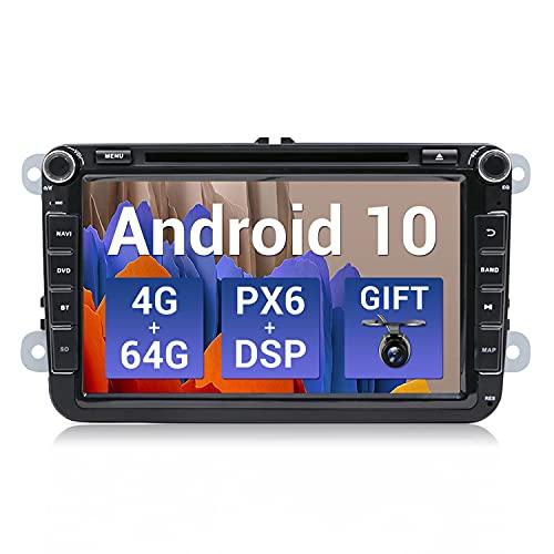 SXAUTO [PX6+DSP] Android 10 Autoradio Compatibile VW Skoda SEAT Golf Polo Jetta Passat - [4G+64G] - Camera Canbus GRATUITI - 8 Pollici - 2 Din - Supporto DAB HDMI AHD 4K-Video Volante 4G WiFi Carplay