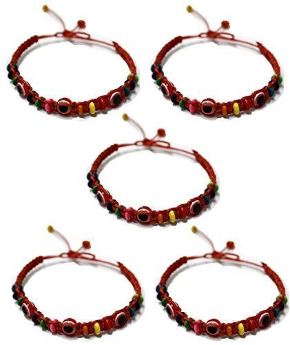 5 Bracelet ŒIL CHANCEUX charme de perle ethnique cordon ROUGE pour succès mode