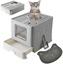 MINIDIO Foldable Cat Litter Box with Cat Litter Scoop Reduces Litter Tracking Top Entry Cat Litter Box with Lid Function Improvement Kitty Litter Box Easy for Cats to Get in and Out