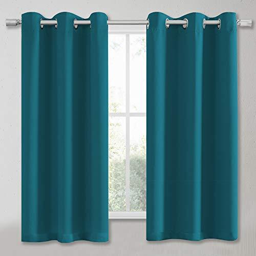 Blaugrün 137 cm Schlafzimmer Vorhang Paneele Verdunklungsvorhänge, wärmeisoliert, solide Ösen, Sonnenschutz, Vorhänge für Küche, Café, 2 Stück B 34 x L 54