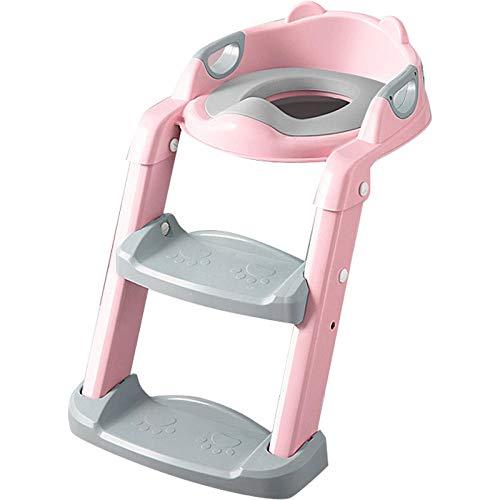 N \ A Rosado Asiento Inodoro con Escalera Patrón de OsoAdaotador WC con Escalera,Capacidad de Carga 75kg,Seguro, Antideslizante Toilet Seat para Baño